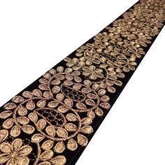 Floral Embroidered Trim Decorative Black Ribbon Cm Wide Indian Sari Border Lace Designer Sewing Ribbon Trim By The yard Kitenge, Cheongsam, Black Ribbon, Black Fabric, Lehenga, Motif Paisley, Hand Embroidery, Embroidery Designs, Sewing Trim