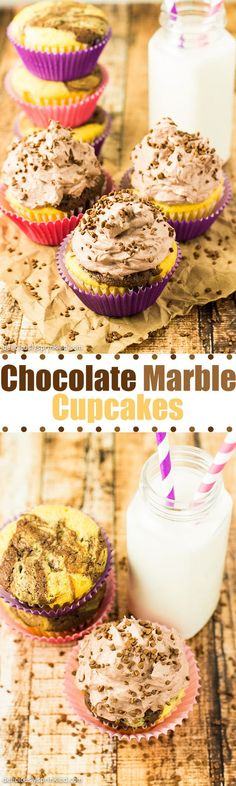 Chocolate Marble Cupcakes- doctored up cake mix with the BEST Cool Whip chocolate frosting EVER!