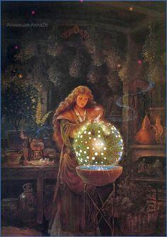Gifs, Maurice Careme, Goddess Art, Witch Art, Fairytale Art, Gif Animé, Fantasy Illustration, Visionary Art, Medieval Fantasy