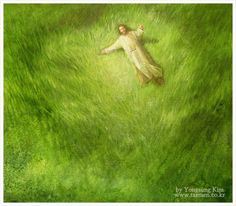 Jesus laying in the cool green grass in shape of heart, prophetic art. Lds Art, Bible Art, Bible Quotes, Jesus Smiling, Pictures Of Christ, God Pictures, Beautiful Pictures, Jesus Painting, Christian Artwork