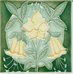 Art Tile, Art Nouveau Flowers Pale Yellow and Green on Dark Green