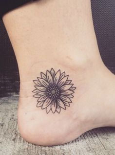 sunflower tattoo on ankle #TattooIdeasFemale #FlowerTattooDesigns