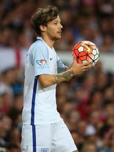 Louis Tomlinson donned a jersey for the 2016 Soccer Aid game, a celebrity match aimed to raise money for Unicef UK.