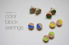 color block earrings. dunno how I could manage to make them in sth I'm not allergic to ...