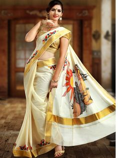 Looking for Kerala saree (kasavu saree) blouse designs? Here are gorgeous models/ideas for you choose the right one to look stunning. Onam Saree, Kasavu Saree, Kerala Wedding Saree, Saree Wedding, Wedding Dresses, Wedding Hair, Bridal Hair, Christian Wedding Sarees, Christian Bride
