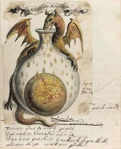 Alchemy: Alchemical images from the Beinecke Library Jhoan Isaac Hollandus, century Alchemical and Rosicrucian compendium. An artwork. Medieval Manuscript, Medieval Art, Illuminated Manuscript, Renaissance Art, Tarot, Dragons, Book Of Shadows, Sacred Geometry, Oeuvre D'art