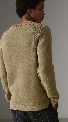 Link Stitch Detail Cashmere Sweater in Clay Green - Men  3de5df7aa