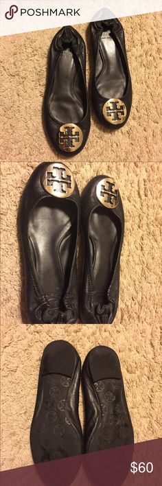 Tory Burch Black ballet flats, silver medallion Tory Burch ballet flats, beautiful with silver medallion , size 7 and in great used condition. Tory Burch Shoes Flats & Loafers
