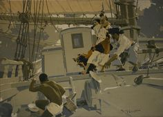 Walter H Everett, Skirmish on Ship Board  Walter H Everett was one of the most popular and well-regarded American illustrators of the early twentieth-century, a period known as the Golden Age of Illustration
