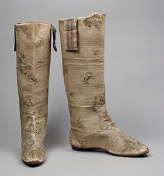"""""""Hessian"""" Boots    1820    The Los Angeles County Museum of Art  -  I never thought of Hessian boots coming in anything other than leather.  These are amazing - breathtaking now and must have been stunning when originally worn.  The Silk brocade over leather and matching silk grosgrain ribbon straps.  Those would really be something to have a copy made of if one could afford it, of course."""
