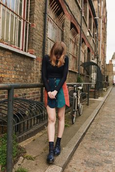 Toni Caroline - Minkpink Ray Of Lights Skirt, Dr. Martens Navy Dms, Charnos Navy Ribbed Socks - Ray of Lights