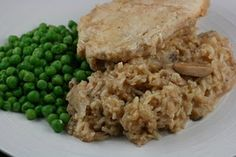 Chicken and brown rice in the slow cooker. With a cream-of alternative that doesn't use any butter.