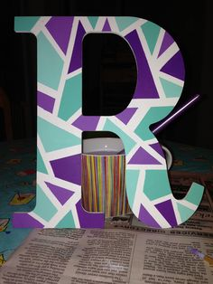 Colorful, abstract, letters for dorm decoration