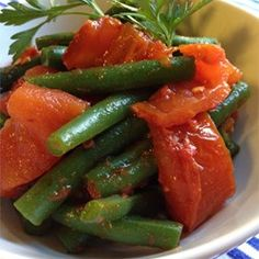 """Steamed Green Beans with Roasted Tomatoes 