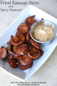 Fried Sausage Bites With Spicy Mustard