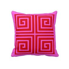 pink and red greek key pillow