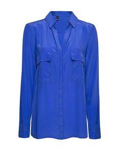 MANGO - Camisa seda bolsillos plastrón - blanco