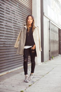 Trench Coat and Black Distressed Skinny Jeans