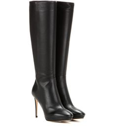 Jimmy Choo - Hoxton 100 knee-high leather boots - In grainy leather, these black boots are an elegant choice when the chill sets in. The slim silhouette and sleek almond toe will refine a cosy look – team with a sweet miniskirt and chunky knitwear for effortless chic. seen @ www.mytheresa.com