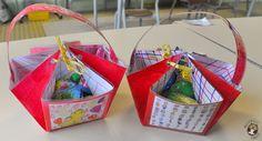 Dans certaines écoles, on perpétue la coutume de donner des chocolats de Pâques, pour le plus grand plaisir des élèves. Et dans ce cas, il faut trouver une idée de contenant à bricoler… Voici une idée de petit panier à réaliser avec des MS/GS (inspirée de la scrapbookeuseDjudi). – Chaque élève dipose d'une feuille carrée …