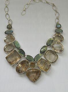 Golden Rutilated Quartz and Faceted Labradorite Gemstones Necklace