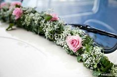 Bridal car flower arrangement - Home Page Wedding Arrangements, Flower Arrangements, Wedding Pics, Wedding Styles, Car Wedding, Wedding Getaway Car, Bridal Car, Wedding Car Decorations, Diy Wedding Bouquet
