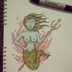 Mermaid promarker drawing