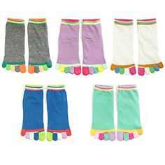 Sold as a set of five. Stretchy and breathable for maximum comfort. Keeps toes warm. Size: Women's sock size 9-11. Material: Cotton, Polyester, Spandex. Washing Instructions: Wash in cold water gentle cycle. Dry flat.