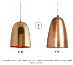 @inthomescapes Large Pendant  |Vs|  @urbanoutfitters 4040 Locust Copper Pendant Light
