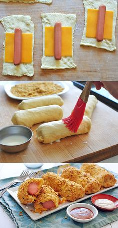 Maybe she will eat this? Crunchy Nacho Crescent Dogs - Wrap a hot dog and a piece of American cheese inside a piece of crescent roll dough. Now roll them in crushed tortilla chips, bake, and congratulate yourself on being a genius. Kids Meals, Easy Meals, Family Meals, Crescent Roll Recipes, Hot Dog Recipes, Fun Recipes, Party Recipes, Pizza Recipes, Beef Recipes