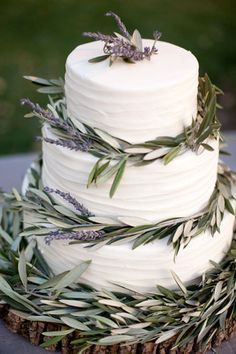 Brides: Wedding Cake of the Week: Lavender and Olive Branches