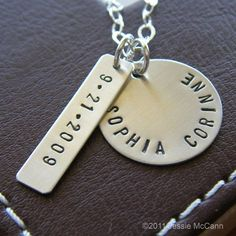 Hand Stamped Necklace Personalized Sterling by jessiemccann