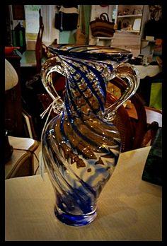 Gorgeous Hand Blown Art Glass 2 Handled Vase.....absolutely stunning!
