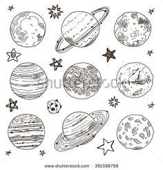Set of doodle planet. Hand drawn vector illustration. Solar system. Uranus, mercury, neptune, mars, moon, saturn, jupiter, pluto, venus.