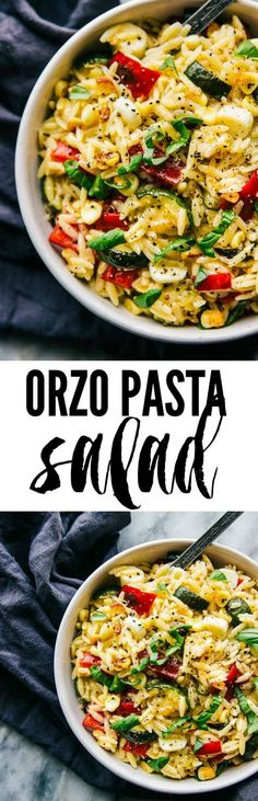 This orzo pasta salad is filled with fresh veggies and has a fresh lemon taste. Perfect for your next potluck!