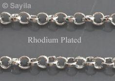www.sayila.fr - Chaîne en métal rhodié, mailles 3mm (100cm)