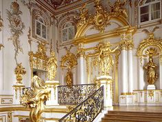 Main staircase Peterhof, St. Petersburg, Russia.