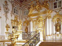 Main staircase Peterhof, St. Petersburg, Russia.