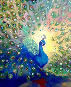 Colorful peacock painting-Abstract Bird Painting-Original Acrylic painting-Acrylic On Canvas-Contemp Peacock Artwork, Peacock Painting, Bird Artwork, Painting Flowers, Abstract Canvas, Acrylic Painting Canvas, Painting Abstract, Painting Art, Toile Photo