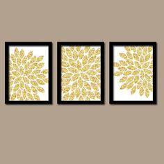 GLITTER Glam Gold Bold Flower Burst Dahlia Bloom by trmDesign, $25.00