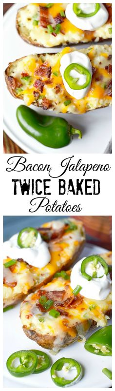 Jalapeño Twice Baked Potatoes This Bacon Jalapeno Twice Baked Potato recipe is stuffed with cheesy goodness, spicy jalapenos and crispy bacon.This Bacon Jalapeno Twice Baked Potato recipe is stuffed with cheesy goodness, spicy jalapenos and crispy bacon. Jalapeno Recipes, Baked Potato Recipes, Bacon Recipes, Pepperoni Recipes, Milk Recipes, Side Dish Recipes, Dinner Recipes, Stuffed Jalapenos With Bacon, Twice Baked Potatoes