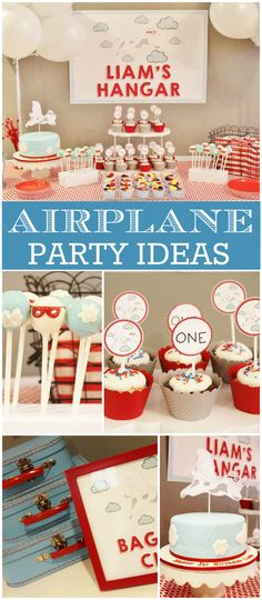 How fun is this first birthday airplane party!? See more party ideas at CatchMyParty.com!