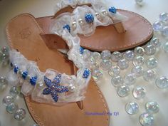 handmade leather sandals decorated with blue stars, blue glass beads and pearls  https://www.facebook.com/pages/Handmade-Creations-by-Efi/187659788043676