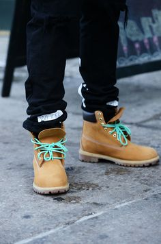 Timberlands & Colored Laces via TOMMY TON