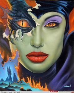 I have a signed glicee of this magnificent Malificent Art by Jim Warren Evil Disney, Dark Disney, Disney Love, Disney Magic, Disney Stuff, Disney And Dreamworks, Disney Pixar, Twisted Disney, Disney Fan Art