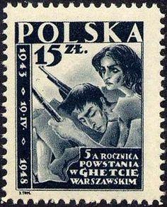 The uprising in the ghetto of Warsaw: http://d-b-z.de/web/2013/04/19/briefmarken-aufstand-warschauer-ghetto/