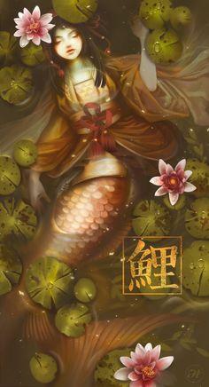 Hi DA friends!) digital paint made for Onmyoji Contest.I love the Japanese culture and I love the koi fish t. Mermaid Drawings, Mermaid Tattoos, Fantasy Mermaids, Mermaids And Mermen, Japan Tattoo, Mermaid Scales, Mermaid Art, Writing Fantasy, Fantasy Art