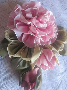 Vintage Style French Ombre Millinery Ribbon Flower Pin~ Rose~Corsage   Note: leaves