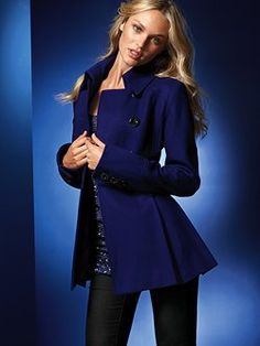 The peacoat gets a flirty, feminine makeover in the Wool Skirted Peacoat from Victoria's Secret. We took a classic double-breasted coat and sculpted a skirted fit-and-flare shape. The result is a masterpiece: curvy, warm and chic.