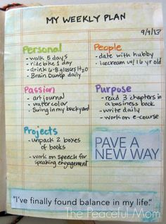 Get Organized! My Weekly Plan 9-9-2013--The Peaceful Mom